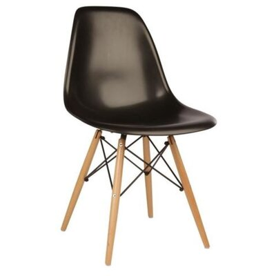 Coatesville Dining Chair Seat Color: Black, Leg Color: Natural Wood