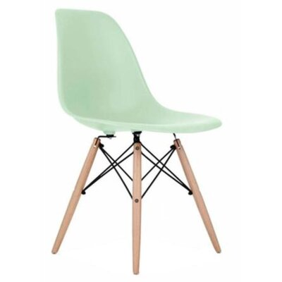 Coatesville Dining Chair Seat Color: Light Green, Leg Color: Natural Wood