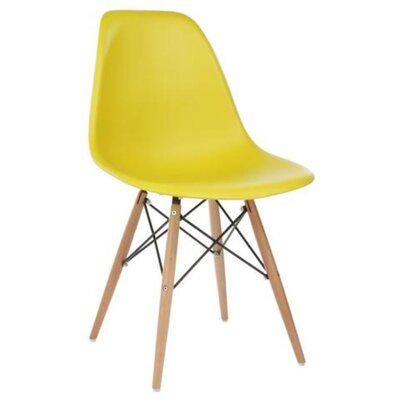 Coatesville Dining Chair Seat Color: Yellow, Leg Color: Natural Wood