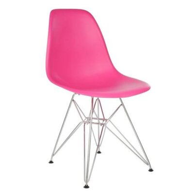 Wilborn Eiffel Side Chair Finish: Chrome/Hot Pink