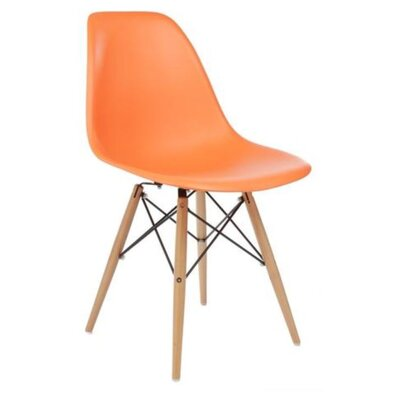 Coatesville Dining Chair Seat Color: Orange, Leg Color: Natural Wood