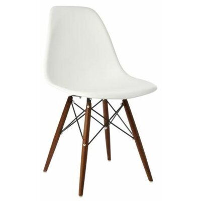 Eiffel Dining Chair Color: White, Leg Color: Walnut