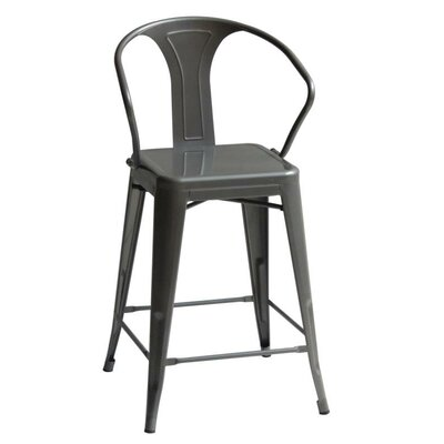 Oldham High Back 26 Bar Stool with Arms