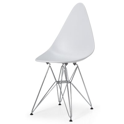McPhee Solid Back Dining Chair Color: White/Chrome
