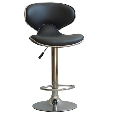 Husby Adjustable Height Swivel Bar Stool Upholstery: Black