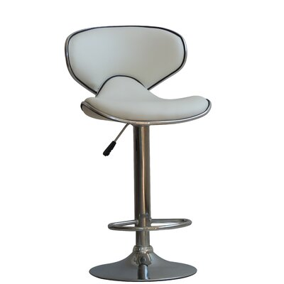 Husby Adjustable Height Swivel Bar Stool Upholstery: White
