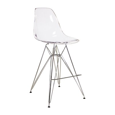 Jamarcus 27 Bar Stool Color: Clear