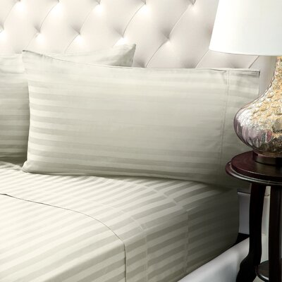 Solid Stripe Wrinkle Free Bed 1200 Thread Count 4 Piece Sheet Set Color: Ivory, Size: Queen