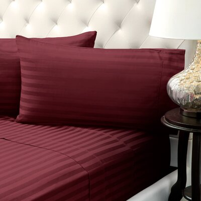Solid Stripe Wrinkle Free Bed 1200 Thread Count 4 Piece Sheet Set Color: Burgundy, Size: King