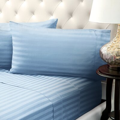 Solid Stripe Wrinkle Free Bed 1200 Thread Count 4 Piece Sheet Set Color: Light Blue, Size: Queen