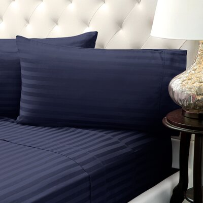 Solid Stripe Wrinkle Free Bed 1200 Thread Count 4 Piece Sheet Set Color: Navy, Size: Queen