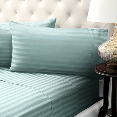 Solid Stripe Wrinkle Free Bed 1200 Thread Count 4 Piece Sheet Set Color: Sage Geen, Size: Queen