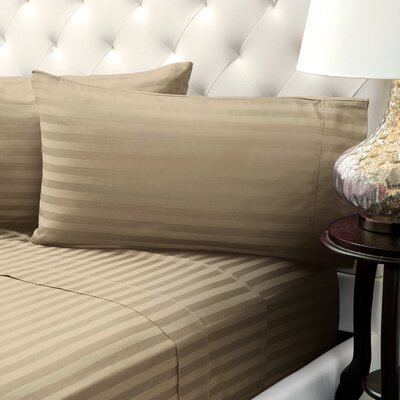 Solid Stripe Wrinkle Free Bed 1200 Thread Count 4 Piece Sheet Set Color: Taupe, Size: King