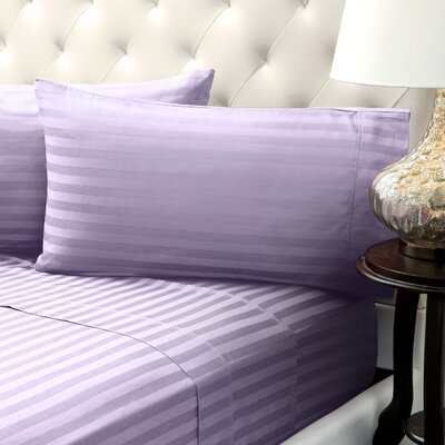 Solid Stripe Wrinkle Free Bed 1200 Thread Count 4 Piece Sheet Set Color: Purple, Size: King