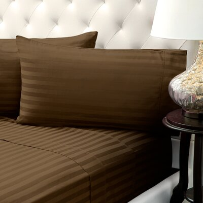 Solid Stripe Wrinkle Free Bed 1200 Thread Count 4 Piece Sheet Set Color: Brown, Size: Queen