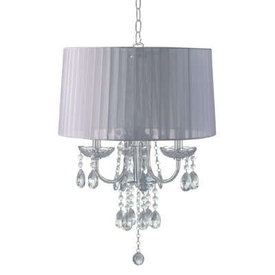 Crystal Inspired 3-Light Drum Chandelier Shade Color: White