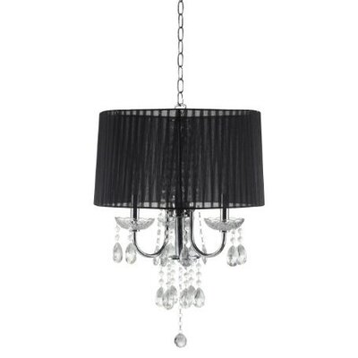 Crystal Inspired 3-Light Drum Chandelier Shade Color: Black