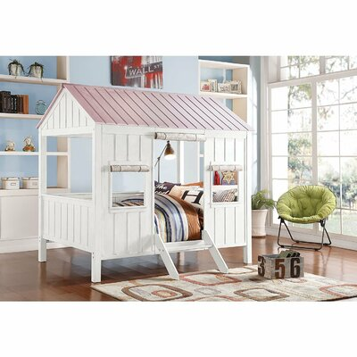 Duchene Spring Cottage Full Canopy Bed Bed Frame Color: White/Pink