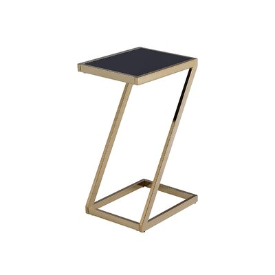 Kloss Modern Metal End Table Table Base Color: Champagne, Table Top Color: Black