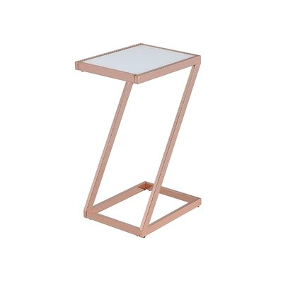 Kloss Modern Metal End Table Table Base Color: Copper, Table Top Color: White
