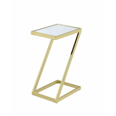 Kloss Modern Metal End Table Table Base Color: Gold, Table Top Color: White
