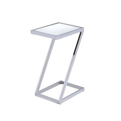 Kloss Modern Metal End Table Table Base Color: Chrome, Table Top Color: White