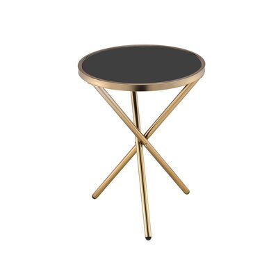 Klinger Modern Round Metal End Table Color: Champagne