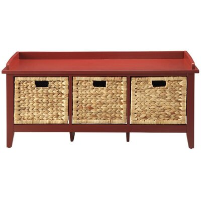 Brekke Wood Storage Bench Color: Burgundy