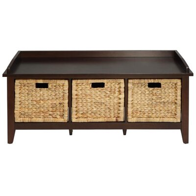 Brekke Wood Storage Bench Color: Espresso