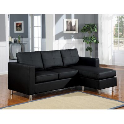 Grasty Bicast PU Leather Sectional Upholstery: Black, Orientation: Right Hand Facing
