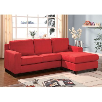 Weisinger Microfiber Reversible Chaise Sectional Upholstery: Red, Orientation: Left Hand Facing