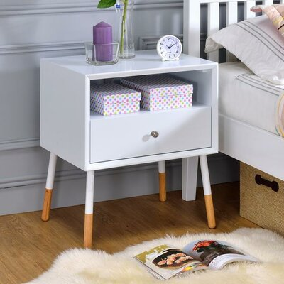 Whisman Nightstand with Open Storage and Drawer Color: White