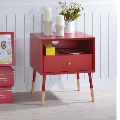 Whisman Nightstand with Open Storage and Drawer Color: Red