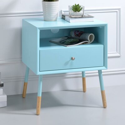 Whisman Nightstand with Open Storage and Drawer Color: Light Blue