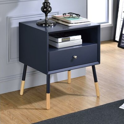 Whisman Nightstand with Open Storage and Drawer Color: Black