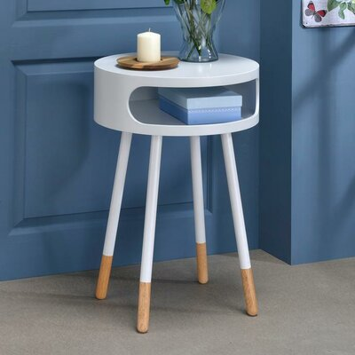Whiteway Wooden Round Nightstand with Open Drawer Color: White