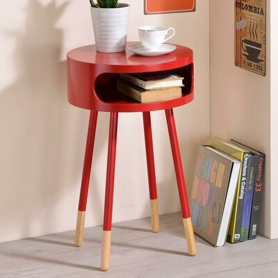 Whiteway Wooden Round Nightstand with Open Drawer Color: Red