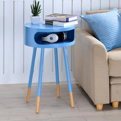 Whiteway Wooden Round Nightstand with Open Drawer Color: Light Blue