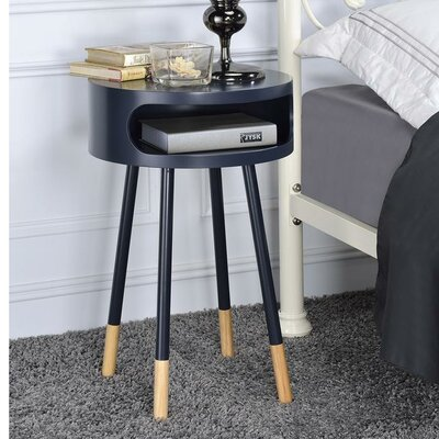 Whiteway Wooden Round Nightstand with Open Drawer Color: Black
