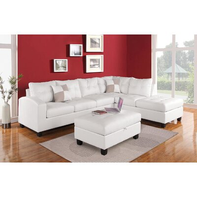 Koontz Living Room Sectional with Ottoman Upholstery: White