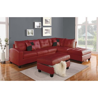 Koontz Living Room Sectional with Ottoman Upholstery: Red