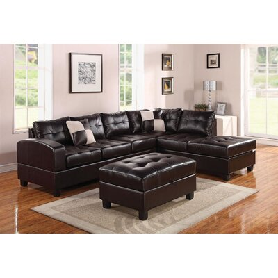 Koontz Living Room Sectional with Ottoman Upholstery: Espresso
