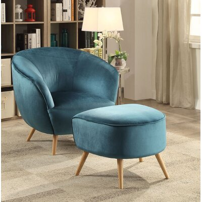 Koerner Club Chair and Ottoman Upholstery: Teal Velvet