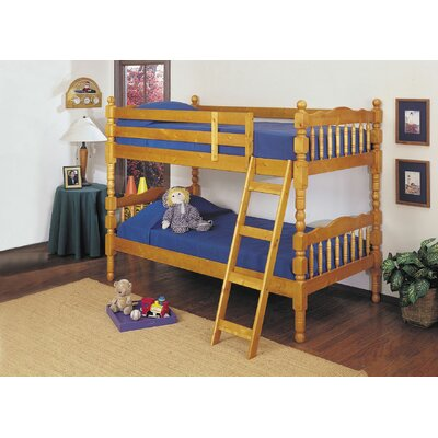 Eaddy Convertible Twin Over Twin Bunk Bed Color: Honey Oak