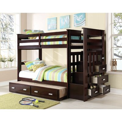 Eades Kids Twin Over Twin Bunk Bed with Trundle and Drawers Color: Espresso