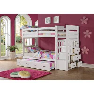 Eades Kids Twin Over Twin Bunk Bed with Trundle and Drawers Color: White