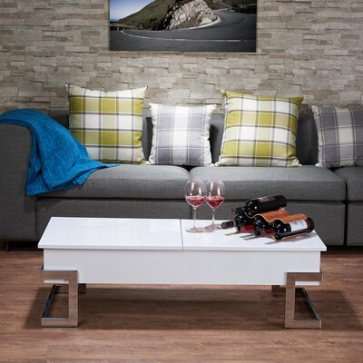 Peden Modern Lift Top Coffee Table Color: White