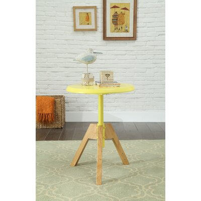 Bradsher Mid-Century Round Wooden End Table Color: Yellow