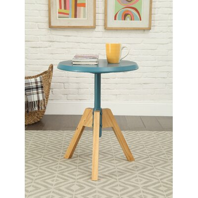 Bradsher Mid-Century Round Wooden End Table Color: Teal