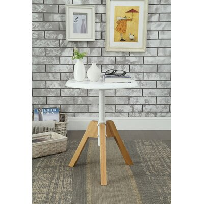 Bradsher Mid-Century Round Wooden End Table Color: White